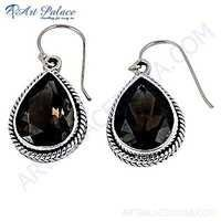 Charming Smokey Quartz Gemstone Silver Earrings