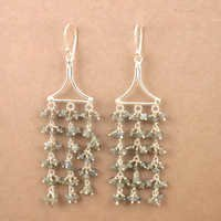 Antique Style Labradorite Gemstone Silver Beaded Earrings, Best Wholesale Prices Jewelry