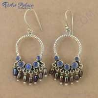 Traditional Blue Chalcedony & Brown Pearl Gemstone Silver Bali Earrings, 925 Sterling Silver Jewelry