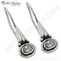 New Arrival Cubic Zirconia Gemstone Silver Earrings