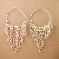 Truly Designer Rose Quartz Gemstone Silver Beaded Earrings, 925 Sterling Silver Jewelry