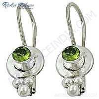 Antique Style Peridot Gemstone Silver Earrings