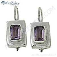 Classic Amethyst Gemstone Silver Earrings