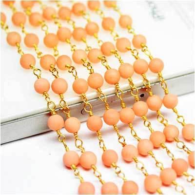 Pink coral gemstone beads