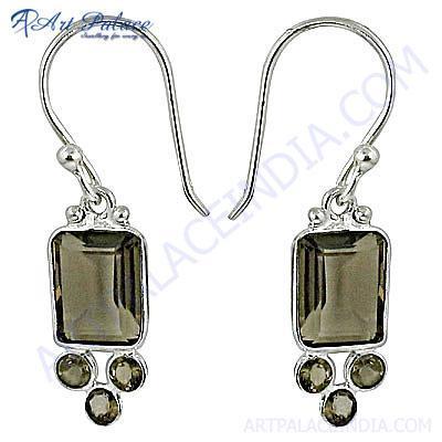 Luxurious Smokey Quartz Gemstone Silver Earrings