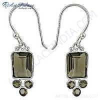 Luxurious Smokey Quartz Gemstone Silver Earrings