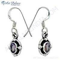Indian Deisgner Gemstone Silver Earrings With Amethyst