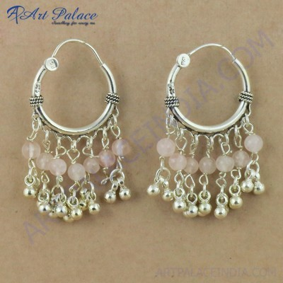 Indian Rose Quartz Gemstone Silver Earrings, 925 Sterling Silver Beaded Jewelry`