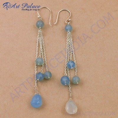 Party Wear Designer Blue Chalcedony Gemstone Silver Earrings, 925 Sterling Silver Beaded Jewelry