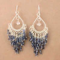 Lavender Crystal & Iolite Gemstone Silver Earrings, 925 Sterling Silver Jewelry