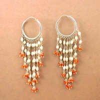Festive Jewelry Carnelian & Pearl Silver Earrings, Festive jewelry 925 Sterling Silver Jewelry