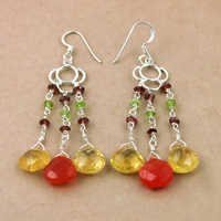 Gracious Fashionable Multi Gemstone Silver Earrings, 925 Sterling Silver Jewelry
