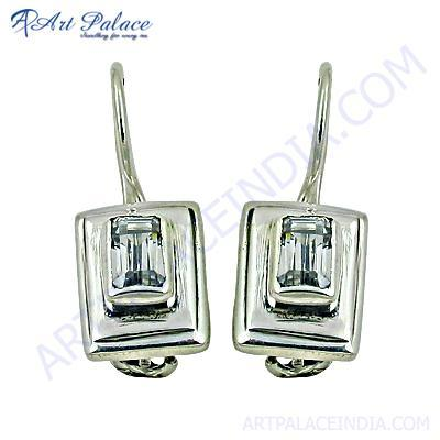 Classy Crystal Gemstone Silver Earrings