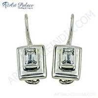 Classy Crystal Gemstone Silver Earrings