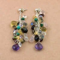 Fashion Accessories Multi Stone Silver Earrings, 925 Sterling SIlver Jewelry