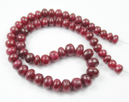 14 Inches - 7-10mm - Natural Red Ruby Smooth Roundle Beads Strand