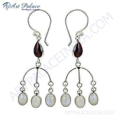 Latest Garnet & Rainbow Moonstone Sterling Silver Earrings