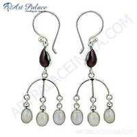 Latest Garnet & Rainbow Moonstone Sterling Silver Earrings