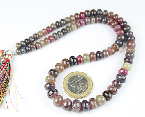 16 Inches - 5.5-9.5mm - Natural Multi Sapphire Smooth Roundel Beads Strand