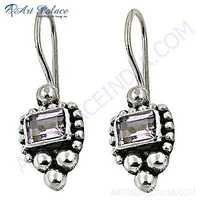 Truly Designer  Amethyst Gemstone Silver Earrings