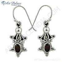 Ethnic Designer Garnet Gemstone Silver Earrings