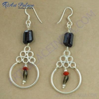 Feminine Unique Style Multi Stone Gemstone Silver Earrings, 925 Sterling Beaded Silver Jewelry