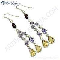 Multistone Costume Silver Jewelry Earrings