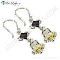 Precious Antique Citrine & Garnet Gemstone Silver Earrings
