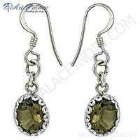 Charming Smokey Quartz Gemstone Silver Deisgner Earrings