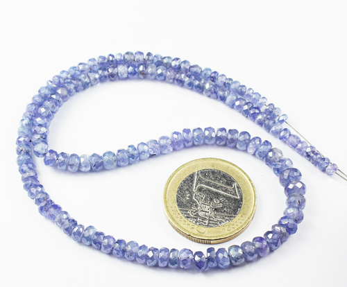 14 Inches - 3-5mm - Natural Blue Tanzanite Facete