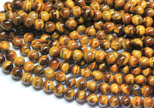 16 Inches 10mm Natural Tiger's Eye Smooth Polished Round Ball Sphere Beads