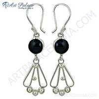 Fashion Accessories Black Onyx Gemstone Silver Earrings