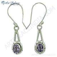 Stylish Amethyst Gemstone Silver Earrings
