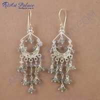 Royal Style Labradorite Gemstone Silver Earrings, 925 Sterling Silver Beaded Jewelry