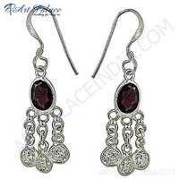 Indian Gemstone Silver Earrings With Garnet