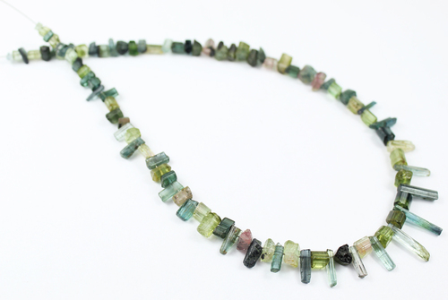 12 Inches - 3-15mm - Natural Green Tourmaline Faceted Pencil Beads Strand