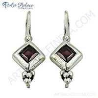 Famous Design Garnet Gemstone Silver Earrings