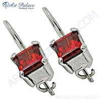 Charming Red Glass Gemstone Silver Earrings