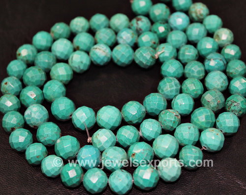 14 Inches - 10MM Top Quality Chinese Natural Turquoise Faceted Round Beads Rondelles
