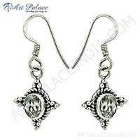 Cubic Zirconia Gemstone Silver Ethnic Earrings