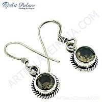 Truly Designer Smokey Quartz Gemstone Silver Earrings