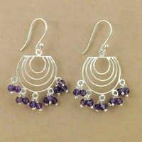 Indian Amethyst Gemstone Silver Beaded Earrings