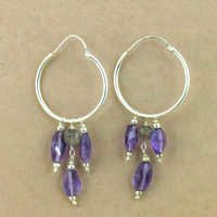 Various Styles Amethyst & Labradorite Gemstone Silver Beaded Earrings