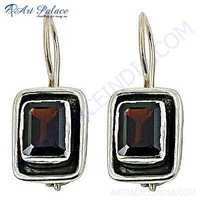 Dazzling Gemstone Silver Earrings With Smokey Quartz