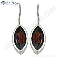 Hot !! Smokey Quartz Gemstone Sterling Silver Earrings