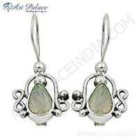 Delicate Rainbow Moonstone Gemstone Silver Earrings