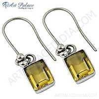 Classic Citrine Gemstone Silver Earrings