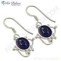 Antique Style Gemstone Silver Earrings With Amethyst