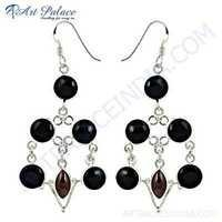 Cool Black Onyx & Garnet Gemstone Silver Earrings
