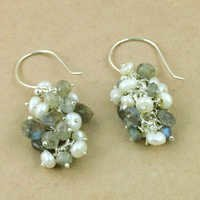 Fantastic Fashionable Labradorite & Pearl Silver Earrings, 925 Sterling SIlver Jewelry